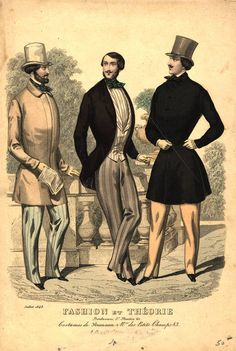 Mid 19th century dandyism... notice the tightly tailored waists