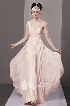 plain light pink one-should pleated a-line floor length chiffon bridesmaid prom dress with sash