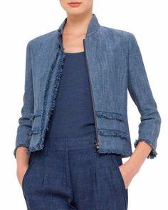 3 4 sleeve fringe trim jacket bleached denim size 16 bleched denim akris p Jeans Denim, Denim Shirt, Denim Fashion, Fashion Outfits, Look Jean, Diy Vetement, Bleached Denim, Mode Jeans, Denim Ideas