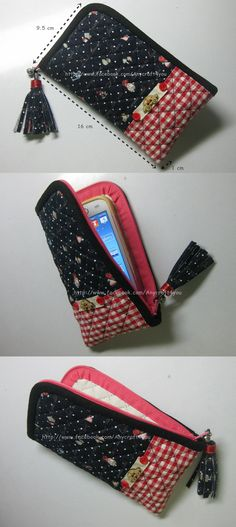 Sew a phone case, zipped mobile phone pocket - Sew a phone case, zipped mobile phone pocket - Sewing Tutorials, Sewing Hacks, Sewing Crafts, Sewing Projects, Sewing Patterns, Tutorial Sewing, Purse Tutorial, Patchwork Bags, Quilted Bag