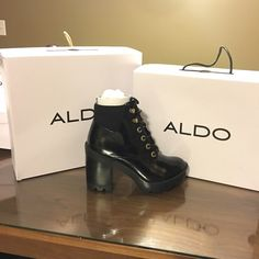 """NWT ALDO Olerinia Lace up black boot sz. 37.5 Brand new with tags, absolutely adorable ALDO Olerinia Black Lace up boots! Size 37.5 of U.S 7.5.   - Round toe - Contrast textile ankle panel - Lace-up closure - Approx. 7"""" shaft height - Approx. 4"""" heel, 1"""" platform ALDO Shoes Ankle Boots & Booties"""