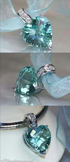 Aquamarine heart necklace pendant