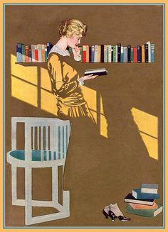 Reading by the bookshelf, 1915 - Clarence Coles Phillips (1880-1927). Artiste et illustrateur américain