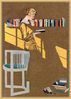 "Negative space: THIS is what it can do. // Coles Phillips • Reading by the bookshelf (1915); Good Housekeeping cover and one of Phillips' ""Fadeaway Girls"" (If you've never seen these, look them up. They're amazing.)"