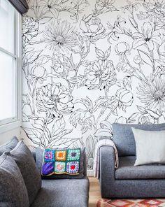 Botanical Garden Hand Drawn Flowers Mural Wall Art Wallpaper - Peel and Stick