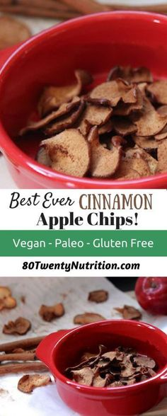 Cinnamon Apple Chips with Honey Nut Dip - best ever! Healthy snack vegan gluten-free paleo low calorie - recipe by Christy Brissette media registered dietitian nutritionist 80 Twenty Nutrition http://www.80TwentyNutrition.com