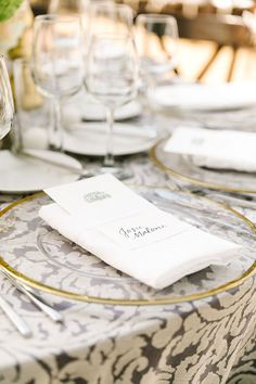Elegant Tented Wedding at the Swan House in Atlanta, Clear Chargers with Gold…