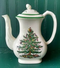 McCoy USA Pottery Jack Daniels Tennessee Mud Coffee Pot Pitcher  - Spode Christmas Tree Coffee Pot