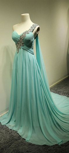 One Shoulder Chiffon A-Line Prom Gowns 2015 Ruffles Sweep Train Evening Dresses with Beadings