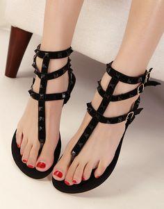 Rivets zipper beaded sandals