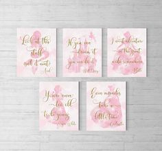 Disney princess nursery Set of 5 Princess party Disney Quotes, Ariel, Disney Castle, Pink and gold, Princess nursery, Princess room, Snow White, Cinderella, Belle, Beauty and the beast, Princess theme, Disney birthday