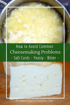 Learn about common cheesemaking problems and how to solve them. Solutions for problems with setting curd or aging cheese. No Dairy Recipes, Milk Recipes, Cheese Recipes, Cooking Recipes, Cheese And Wine Tasting, Wine Cheese, Chutney, Charcuterie, Tofu