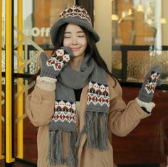 Winter geometric knit bucket hat scarf and gloves set for women