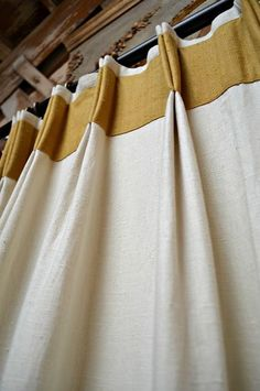 Window Treatment Trimmings - Home Decor Trend - Nice take on a traditional pinch pleated drapery with the banding and double tacking. Pinch Pleat Curtains, Pleated Curtains, Curtains With Blinds, Valances, Window Curtains, Bedroom Curtains, Cornices, Mini Blinds, Wood Blinds