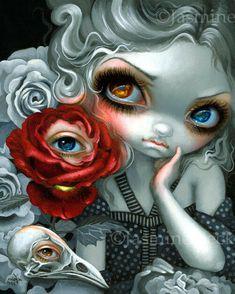 Strangeling: The Art of Jasmine Becket-Griffith - Gothic, Fantasy, Pop Surrealist, Lowbrow and Fairy Art Arte Lowbrow, Creepy Eyes, Gothic Fairy, Steampunk Fairy, Sugar Skull Art, Fantasy Kunst, Gothic Fantasy Art, Pop Surrealism, Surrealism Painting