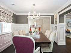 Add an unexpected touch to a classic dining room by swapping in orchid fabric for the chair backs. (http://www.hgtv.com/color/pantones-2014-color-of-the-year-radiant-orchid/pictures/page-7.html?soc=Pinterest)