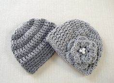 Newborn twin hats Baby twin girl and boy hats set by JURGOSS