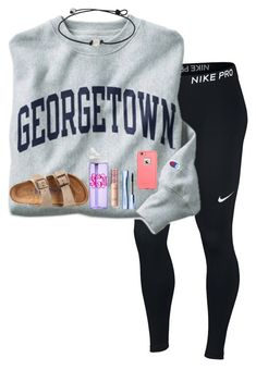 """QOTD: what's your favorite ice cream flavor"" by katherine-roseeee ❤ liked on Polyvore featuring NIKE, Champion, Estée Lauder, CamelBak, Birkenstock and LifeProof"