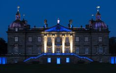 A highlight of the exhibition is Turrell's Illumination, a grand light show enlivening the front and rear façade of Houghton with brilliant colors that slowly change over the course of 45 minutes. Photo by Hugo Glendinning, courtesy of the artist and Houghton Hall