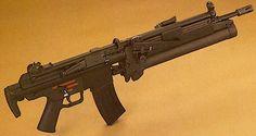 H&k hk33 Sort of a baby G3, or a teenage mp5. Not an smg like the mp5 Not a battle rifle like the G3 A 5.56 assault rifle