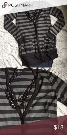 Black and Gray striped boyfriend sweater Worn once, great sweater. Wear with a black tank for a cute casual look. Delirious Sweaters Cardigans
