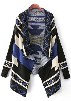 Cozy Sapphire Blue and Black Geometric Blanket Print Irregular Hem Cardigan