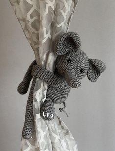 Adorable Crochet Elephant Curtain Tie Back Elephant Themed Nursery, Baby Girl Elephant, Safari Nursery, Elephant Baby Showers, Nursery Themes, Girl Nursery, Nursery Ideas, Boho Nursery, Playroom Ideas