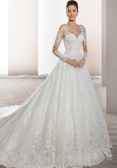 Cheap bride gowns, Buy Quality sleeved wedding directly from China long sleeve wedding Suppliers: Vestido de Noiva New Style Long Sleeves Wedding Dress A-Line Lace Appliques Rrobe de Mariage Sexy Back Long Tail Bride Gowns Lace Wedding Dress, Wedding Dresses 2018, Long Sleeve Wedding, Tulle Wedding, Wedding Dress Styles, Bridal Dresses, Flower Girl Dresses, 2017 Wedding, Wedding Bride
