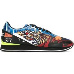 Kenzo multi logo sneakers ($226) ❤ liked on Polyvore featuring men's fashion, men's shoes, men's sneakers, multicolor, kenzo mens shoes, mens leather shoes, mens leather lace up shoes, colorful mens shoes and mens lace up shoes