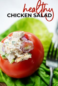 This chicken salad is packed with flavor thanks to the grapes, celery, almonds, and Greek yogurt dressing. No mayo in this chicken salad! #chicken #salad #healthy #lunch Chicken Salad Ingredients, Chicken Salad Recipes, Salad Chicken, Healthy Chicken, Greek Yogurt Dressing, Greek Yogurt Chicken Salad, Greek Salad, Best Greek Yogurt, Greek Yogurt Recipes