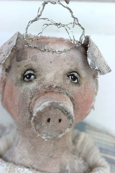 original textile fiber wall ooak pig angel art doll door fadedwest