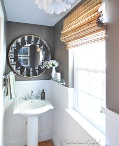 "On the walls in my powder bathroom is Valspar's ""Seine"" – a deep mushroom gray color with a little chocolate brown in it too.  I also installed  beadboard wallpaper for a nice contrast.~THIS IS MY IDEAL COLOR SCHEME! Master bath"