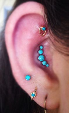 Classy Ear Piercing Ideas with Turquoise Stone Cartilage Piercing, Tragus Earring, Helix Stud in Silver - Internally Threaded - Ear Piercing Jewelry at MyBodiArt.com