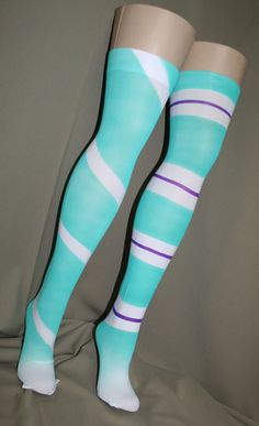 Vanellope Von Schweets style painted thigh hgh stockings, inspired by Wreck it Ralph. Great for cosplay or dress up... or heck just for fun! Can be made