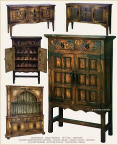 Rustic Spanish Hacienda Style Furniture, but I would like one or all of them in distressed vibrant colors!