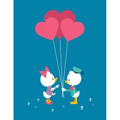 Hearts Afloat : Donald Duck and Daisy art for Disney's WonderGround Gallery. Debuts February 14th, 2015.