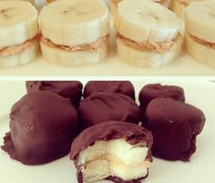 Clean Dessert! Cut up banana slices and put peanut butter between them. Put in freezer for 1 hour then cover in melted chocolate and freeze again for 2-3 hours. Tip: use dark chocolate to add antioxidants.
