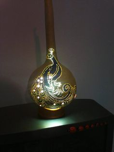 Handcrafted Gourd Lamp with peacock Pattern by Neymanlamps on Etsy