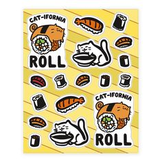 $10 | California Cat Roll and Sushi  - Everyone knows that cat love sushi, and so do most people! Show off your love for delicious sushi rolls and cute, cuddly cats with this cute and funny, cat sticker sheet!