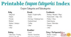 Coupon Categories And Subcategories For Organizing Coupons : Free printable coupon categories index, which you can use in your coupon binder as table of contents {courtesy of Home Storage Solutions Free Printable Coupons, Free Coupons, Free Printables, Couponing For Beginners, Home Storage Solutions, Budget Organization, Budget Binder, Fun Snacks For Kids, Extreme Couponing
