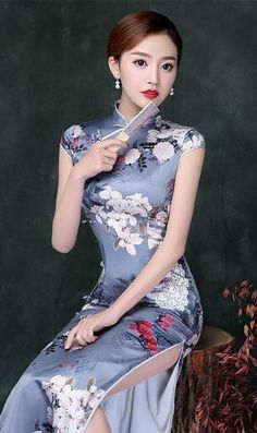 New Arrival Uoozee Traditional Fashion, Traditional Dresses, Oriental Dress, Cotton Long Dress, Cute Japanese Girl, Cheongsam Dress, Kimono Dress, Beautiful Asian Women, Satin Dresses