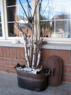 super Ideas for front door planters winter birch branches Birch Tree Decor, Log Decor, Tree Branch Decor, Decorating With Tree Branches, Christmas Planters, Christmas Porch, Outdoor Christmas, Christmas Branches, Birch Logs