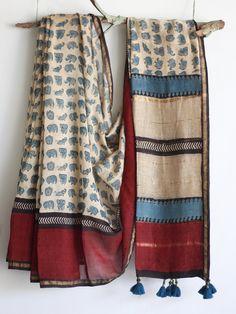 Chanderi Silk Saree, Cotton Saree, Silk Sarees, Saris, Saree Blouse Patterns, Saree Blouse Designs, Block Print Saree, Saree Models, Stylish Sarees