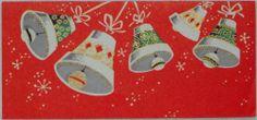 #838 50s Mid Century Bells-Vintage Christmas Greeting Card