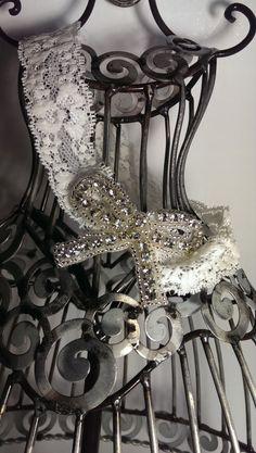 Lace headband, rhinestone bow on a soft lace headband, girls headband, cream lace headband hair accessory, baby headband, lace headband by VittysPretties on Etsy