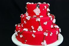 Red japanese blossoms wedding cake