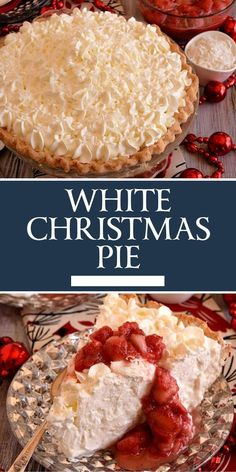 I'm dreaming of a white Christmas…and this White Christmas Pie is very dreamy and delicious! This White Christmas Pie is filled with a creamy and sweet coconut filling flavored with both almond and vanilla then topped with unsweetened whipped cream. Köstliche Desserts, Delicious Desserts, Yummy Food, Finger Desserts, Christmas Cooking, Christmas Pies, Christmas Snacks, Holiday Pies, Christmas Cupcakes