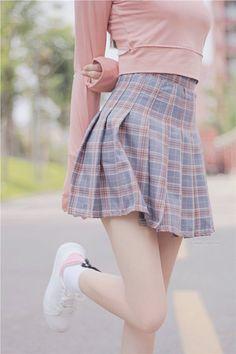 Plaid Fashion, Cute Fashion, Skirt Fashion, Vintage Fashion, Fashion Outfits, Womens Fashion, Street Fashion, Fashion Styles, Fashion Ideas