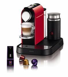 Nespresso Citiz & Milk Red XN7106 Krups - Cafetera monodosis (19 bares, Preparación manual Cappuccino, Modo ahorro energía), Color Rojo: Ama...