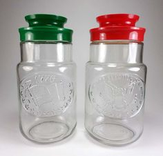 Set of Two Bicentennial 1776 - 1976 Glass Jars, Anchor Hocking, Eagle, American Flag, Promotional Tang Drink Mix Jars